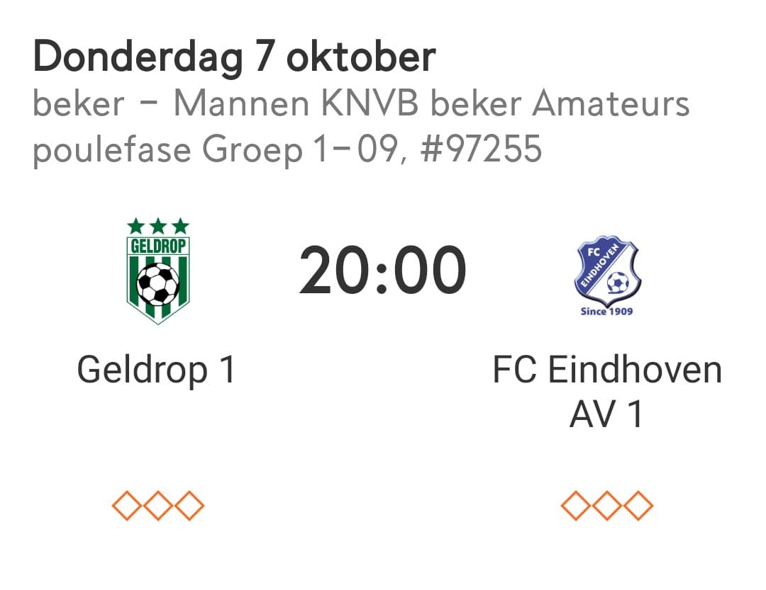 Restant Geldrop heren 1 - FC Eindhoven/av heren 1 gepland voor donderdag 7 oktober